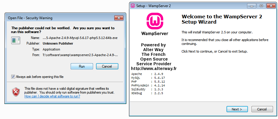 WAMp server installation process