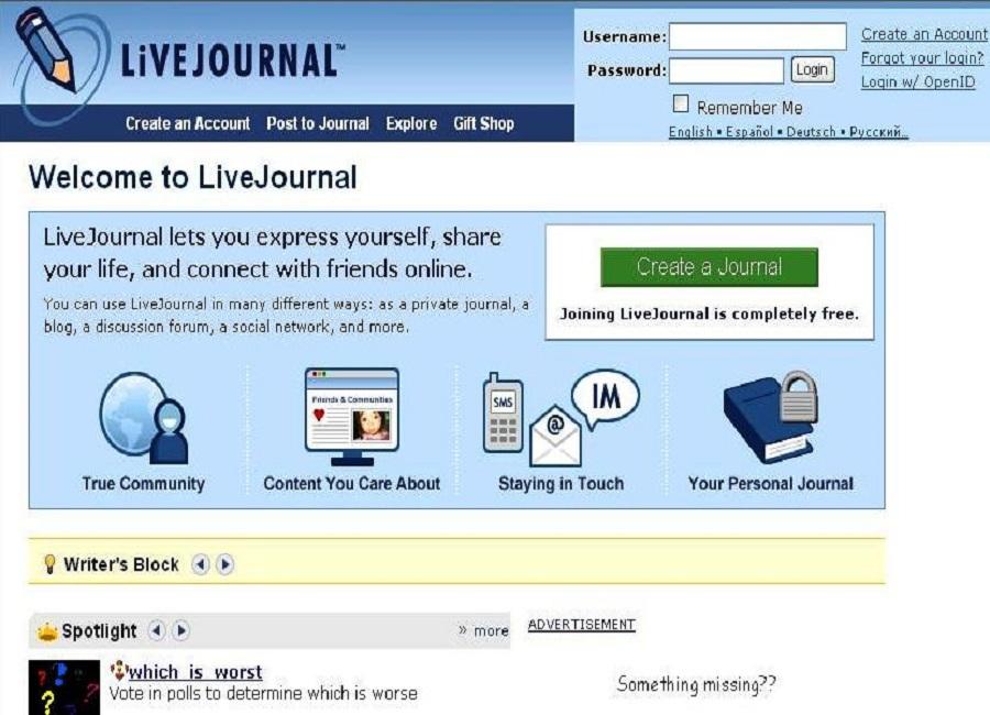 livejournal free social media platform