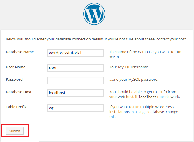 wordpress database information