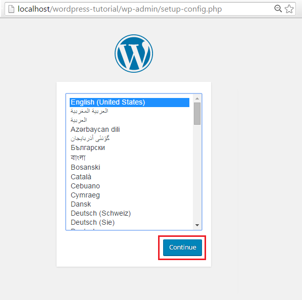 wordpress language configuration