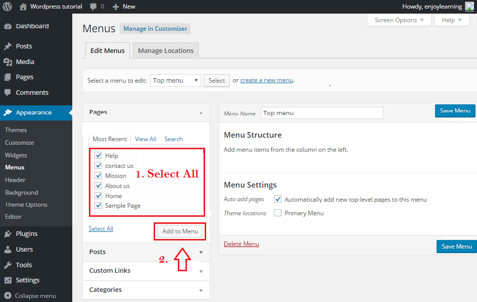 wordpress menu select in dashboard