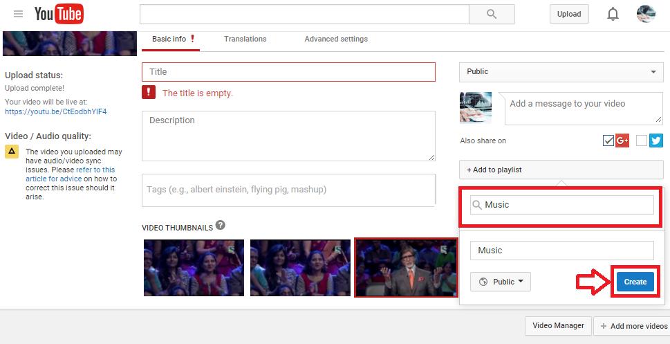 youtube playlist create