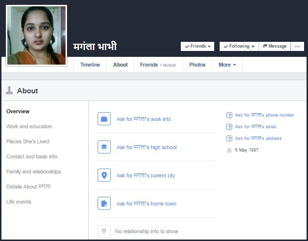 facebook fake profile about tab