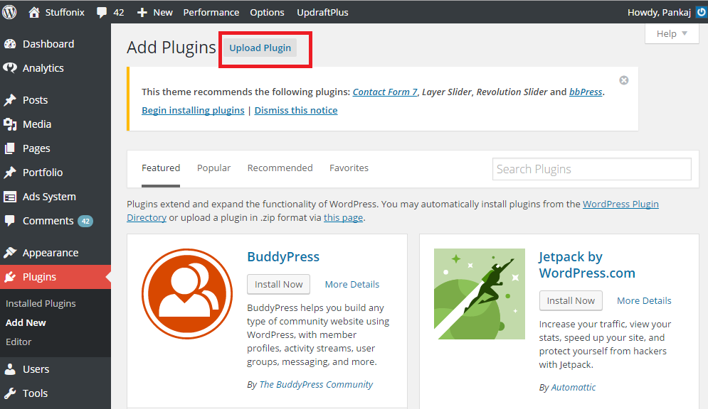 plugin by upload