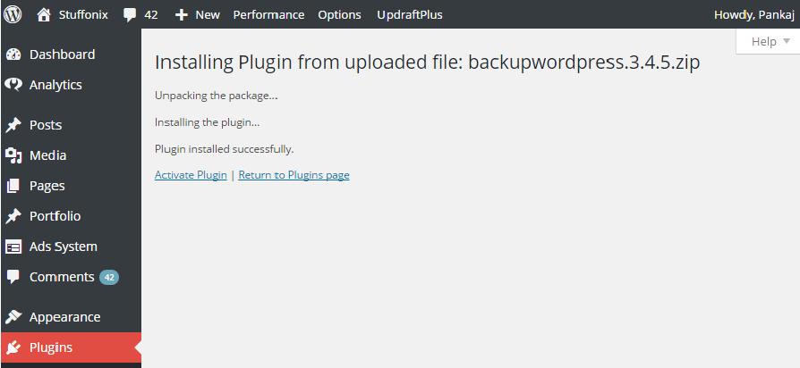 plugin installation done