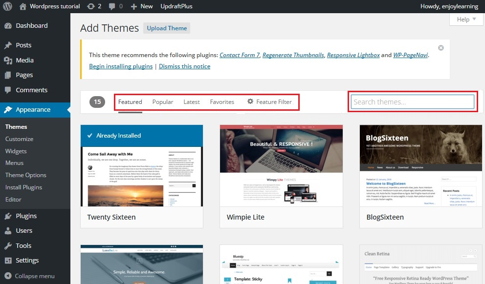 search wordpress theme