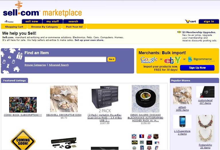 sell.com for selling item online