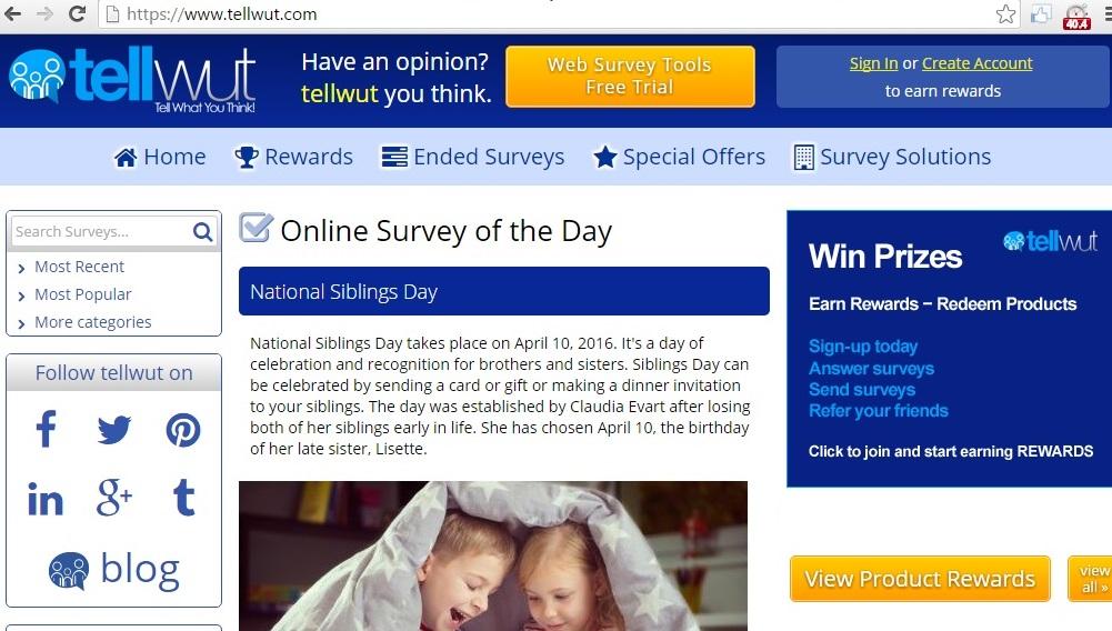 tellwut site for online survey