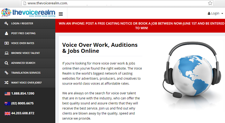 thevoicerealm voice over job online