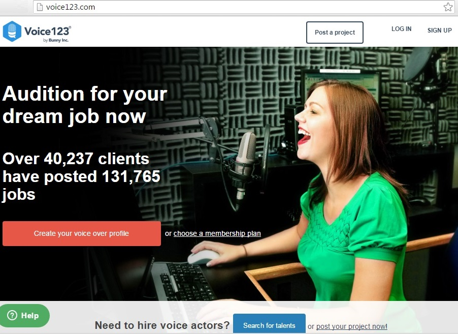 voice123 voice over job at home