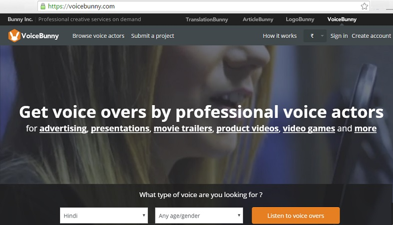 voicebunny voice over job online