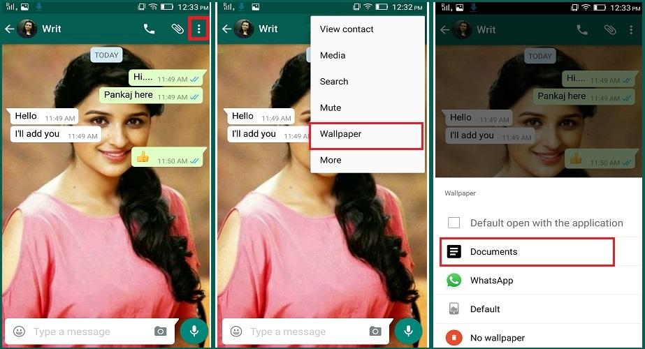 whatsapp chat setting other way