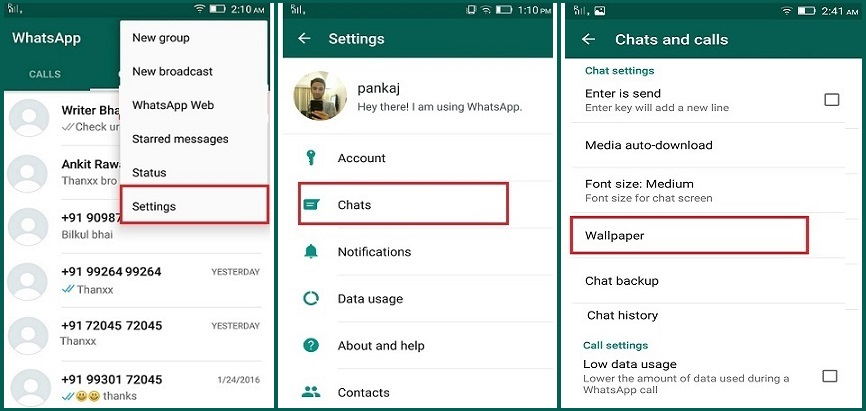 whatsapp wallpaper chat setting