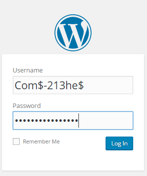 complex password and username