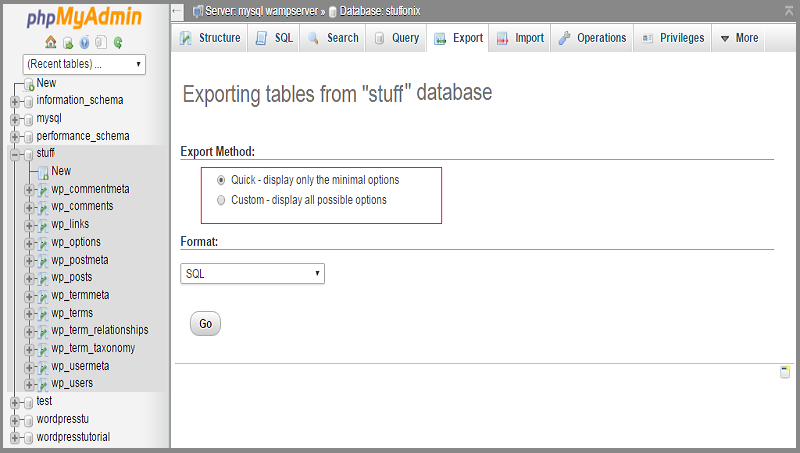 wordpress database backup export