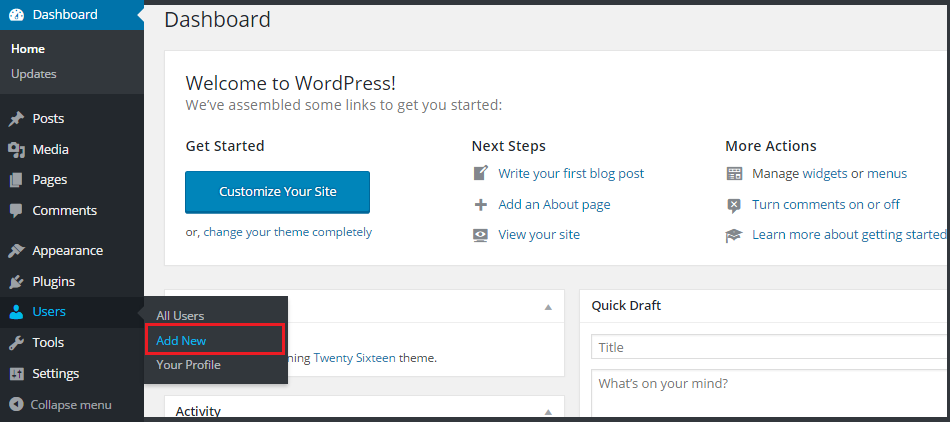 wordpress create new user