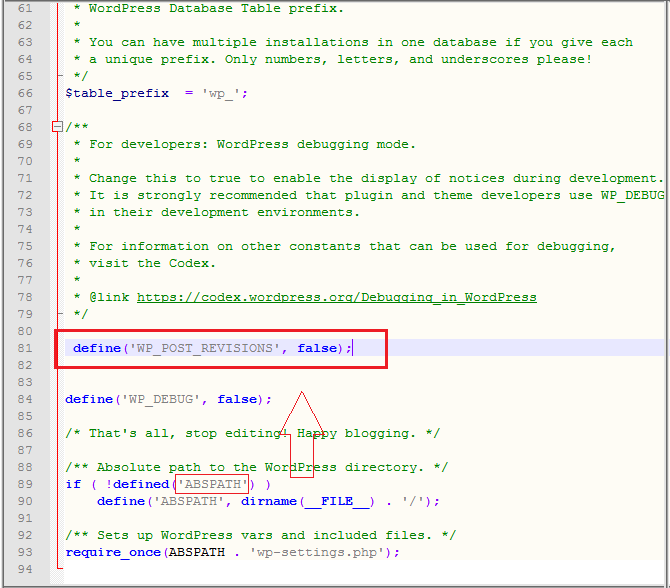 wordpress-disable-revision-code