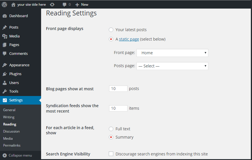 wordpress front page display setting
