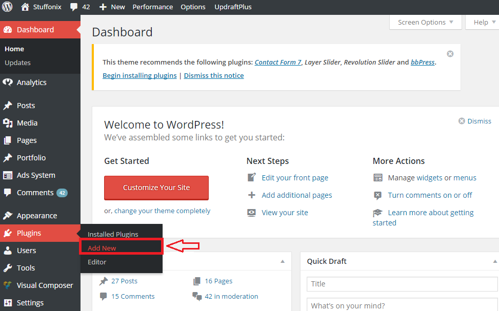 first step of how to install WordPress plugins