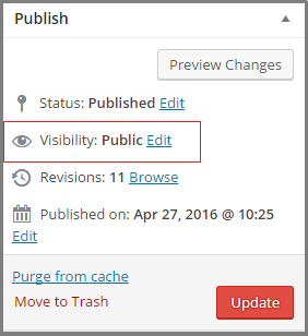 wordpress post visibility setting