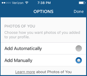 select tagged photos to appear