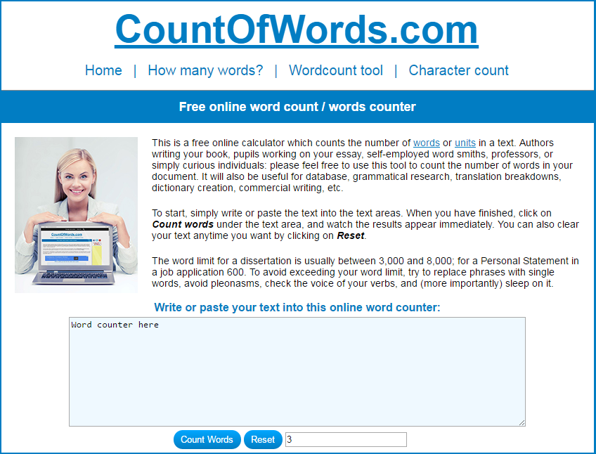 best online word count tool counts words lines characters website site countofwords word counting tool