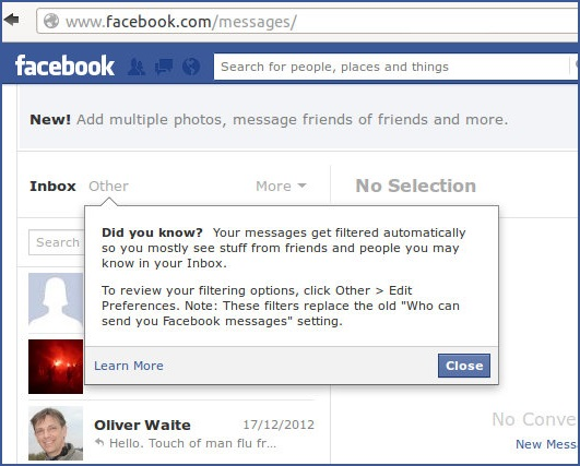 facebook hidden inbox