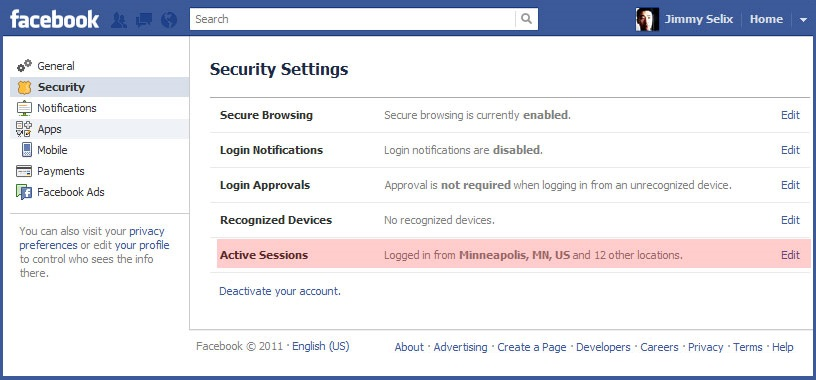 facebook logout from other device