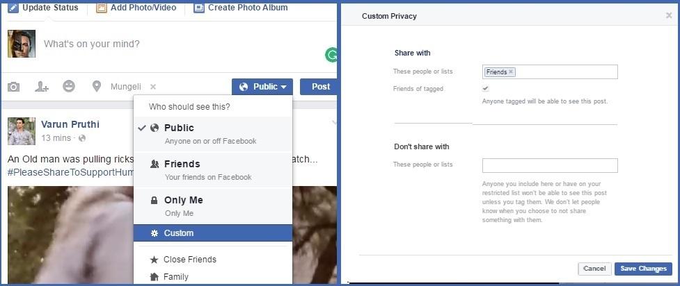 facebook custom post sharing