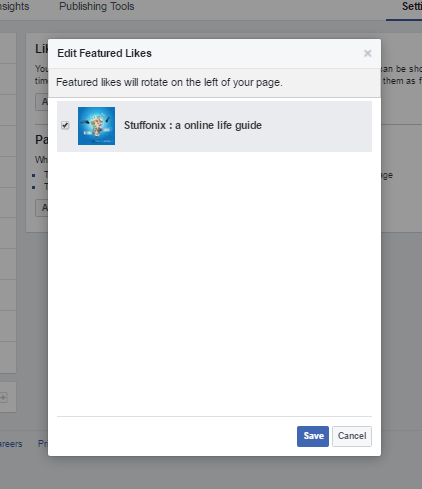 facebook feature page seletion