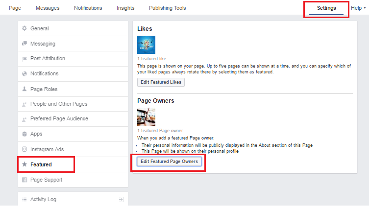 facebook page owner setting
