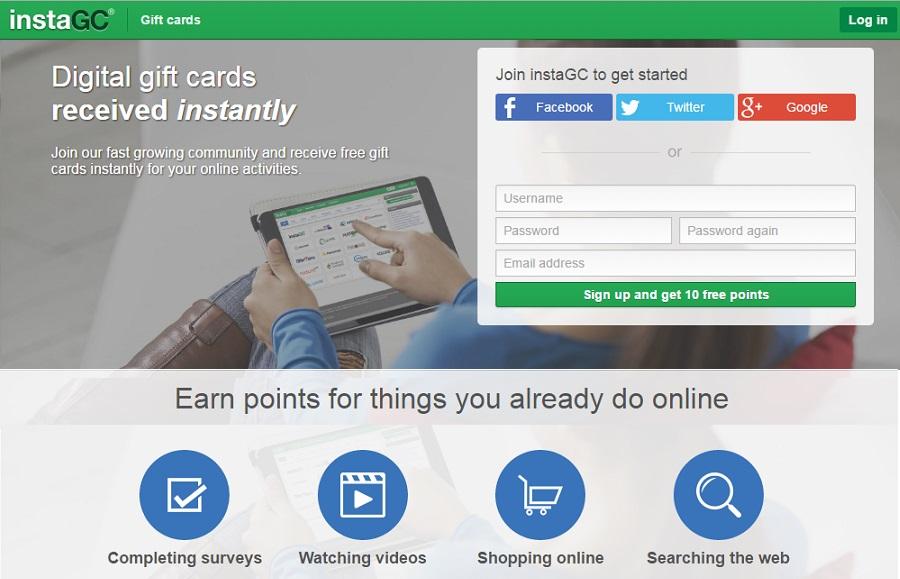instaGC earn gift online work