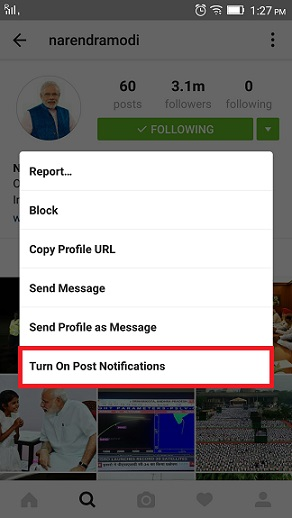 Instagram features - notification tweets