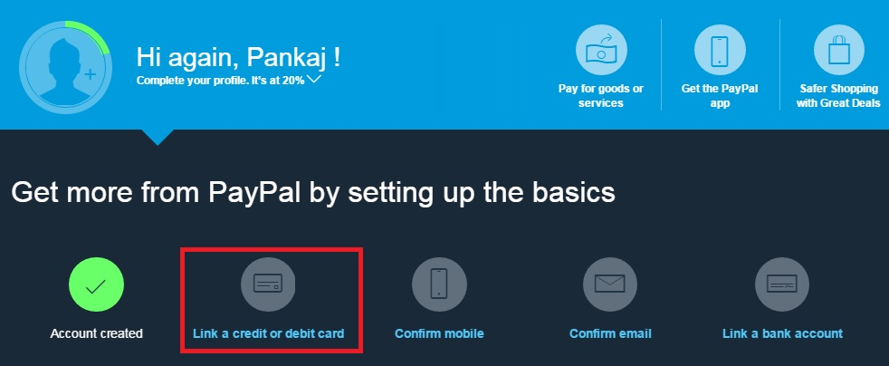 link credit/debit card with PayPal