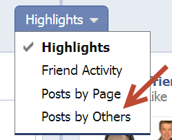 manage post by other on facebook page