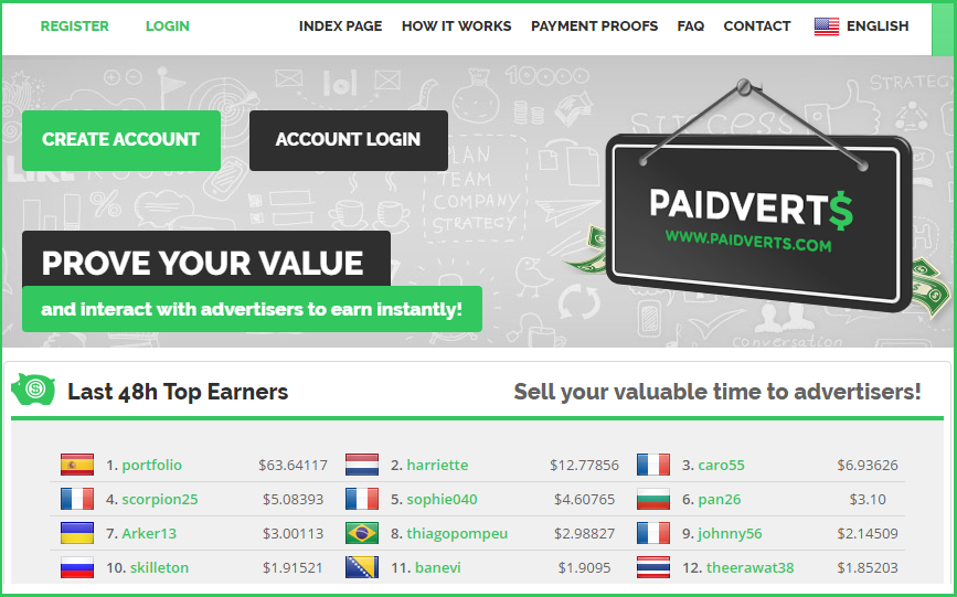 paidverts payperclick earning