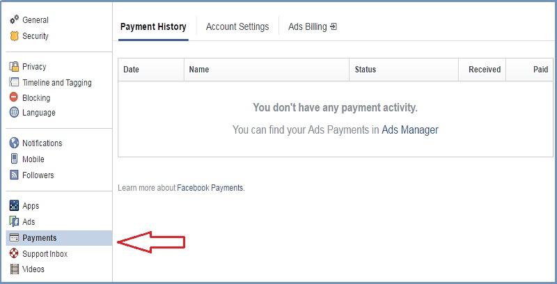 pay via facebook