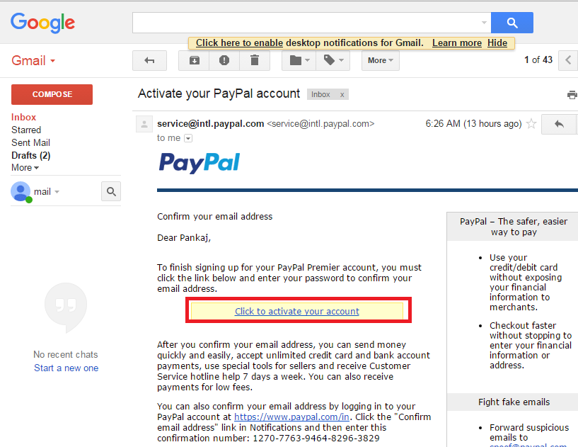 Paypal email verification