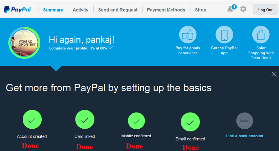 Paypal email verified