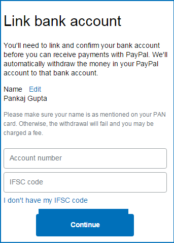paypal link bank account