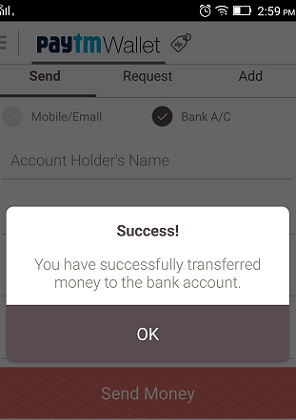 paytm money transfer success
