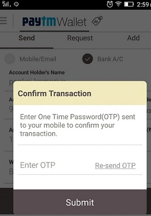 paytm otp code for verification