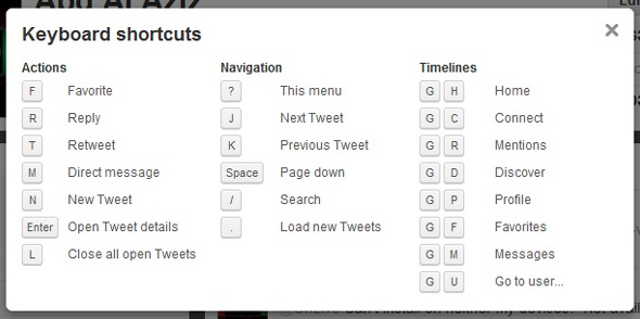 twitter shortcut location