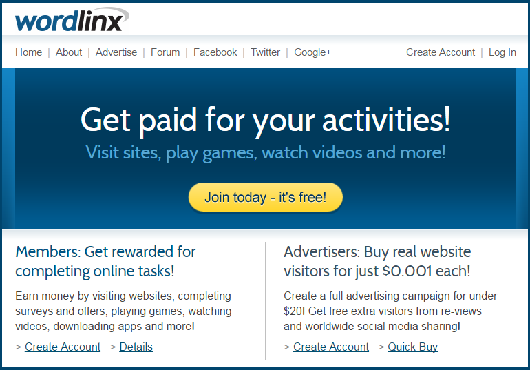 wordlinx payparclick earn by cicking