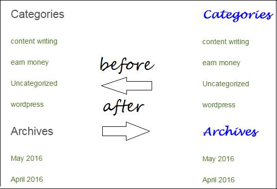 wordpress widget style
